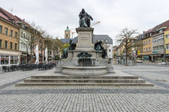 Monument to Friedrich Rueckert - a German poet, translator, and professor of Oriental languages. SCHWEINFURT, GERMANY - APRIL 21, 2017: Monument to Friedrich Stock Image