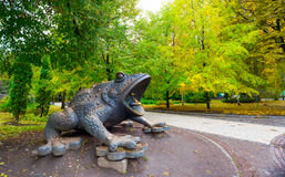 Monument to a frog in the park of Kiev Royalty Free Stock Photo