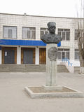 Monument to Fyodor Ivanovich Tolbuhin at the main entrance to the Lyceum №1 (22 school) Krasnoarmeisky district, Volgograd Royalty Free Stock Photos