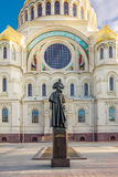 Monument to Fyodor Ushakov in front of the Naval cathedral of Saint Nicholas in Kronstadt, Russia Royalty Free Stock Photography