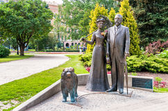 Monument to George and Cecile Armitstead with a chow chow dog. Stock Photos