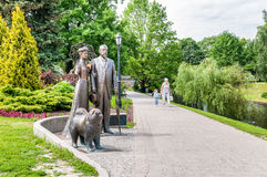 Monument to George and Cecile Armitstead with a chow chow dog. Stock Photography