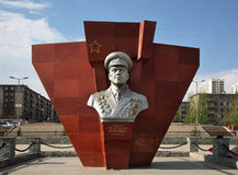 Monument to Georgy Zhukov in Ulaanbaatar. Mongolia Royalty Free Stock Photos