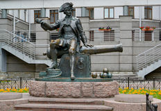 Monument to the goal-scorer Vasily Korchmin in St. Petersburg.  Royalty Free Stock Photography