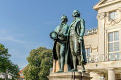 Monument to Goethe and Schiller. Before the national theater in Weimar stock photography