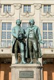 Goethe and Schiller. Monument to Goethe and Schiller before the national theater in Weimar Royalty Free Stock Photos