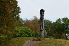 The monument to Grand Duke Vytautas at the castle of Trakai. TRAKAI, LITHUANIA - SEPTEMBER 29, 2013:The monument to Grand Duke Vytautas at the castle of Trakai Royalty Free Stock Photo