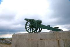 A monument to the gun on a pedestal. Shipka. Bulgaria. sights Royalty Free Stock Photography