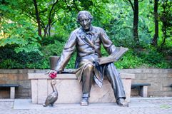Monument to Hans Christian Andersen - NYC. Monument to Hans Christian Andersen, the famous Danish fairy-tale writer in Central Park in New York City Stock Photos