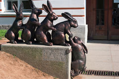 Monument to hares on the hare island. Russia, St. Petersburg - June 17 2017: Monument to hares on the hare island Stock Images
