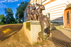 Monument to hares, hare`s island In the Peter and Paul Fortress. Saint Petersburg Royalty Free Stock Photo