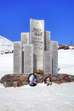 Monument to the heroes of defensive of Elbrus. CAUCASUS, RUSSIA - May 01.2015: Monument on the top of mountain Elbrus in honour the lost defenders in the years Stock Photography