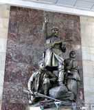 Monument to the heroes guerrillas in Moscow metro station Stock Photography