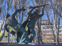 Monument to heroes in the park in Feodosia stock images
