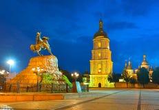 Monument to hetman of Ukraine Bogdan Khmelnitsky and Saint Sophi Royalty Free Stock Images