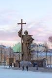 Monument to Holy Prince Vladimir the Great on Borovitskaya Squar Stock Photos