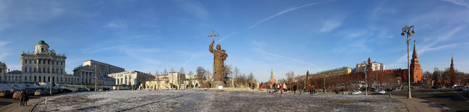 Monument to Holy Prince Vladimir the Great on Borovitskaya Square in Moscow near the Kremlin, Russia. The opening ceremony took place on November 4, 2016 royalty free stock image