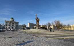 Monument to Holy Prince Vladimir the Great on Borovitskaya Square in Moscow near the Kremlin, Russia. Royalty Free Stock Photography