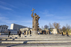 Monument to Holy Prince Vladimir the Great on Borovitskaya Square in Moscow near the Kremlin, Russia. The opening ceremony took place on November 4, 2016 royalty free stock images