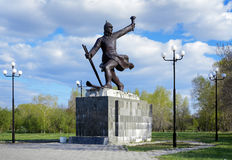 Monument to ice transition in Komsomolsk-on-Amur Stock Photos