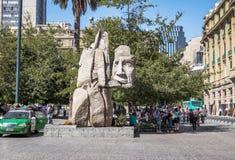 Monument to indigenous people Al Pueblo Indígena at Plaza de Armas Square, sculpture of Enrique Villalobos - Santiago, Chile stock photo