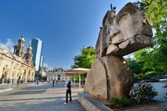 Monument to indigenous people. Plaza de Armas. Santiago. Chile Royalty Free Stock Photos