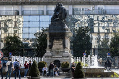 Monument to Isabel La Católica and Cristobal Colon against ban Stock Photography