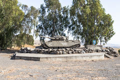 Monument to the  Israeli tank is after the Doomsday Yom Kippur War on the Golan Heights in Israel, near the border with Syria Royalty Free Stock Photos