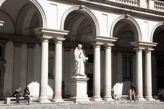 Monument to Italian mathematician Bonaventura Francesco Cavalieri. The statue, sculpted by Giovanni Antonio Labus. Main courtyard Stock Photos