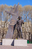 Monument to Ivan Chernih, Hero of the Soviet Union. Stock Photo