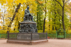 The monument to Ivan Krylov in Summer Garden Royalty Free Stock Images