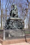Monument to Ivan Krylov in the Summer Garden in St. Petersburg Royalty Free Stock Photo