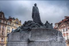 Monument to Jan Hus. Is located in the Old Town Square of Prague Stock Photo