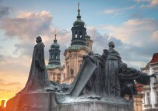 Monument to Jan Hus. Is located in the Old Town Square of Prague Royalty Free Stock Photography