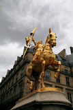Monument to Joan of Arc. Golden monument to Joan of Arc in Paris Royalty Free Stock Photos