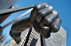 Monument To Joe Louis, `The Fist`, Hart Plaza, Detroit, Michigan. DETROIT - JANUARY 26, 2018, `The Fist` Monument To Joe Louis, in Hart Plaza, Downtown Detroit Stock Photos