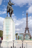 Monument to Joffre and Eiffel Tower Stock Photo