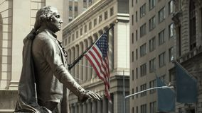 Monument To Jord Washington And American Flag. New York. ,. Concept Of Patriotism. Great Monument To Jord Washington. View Of American Flag. New York City stock video