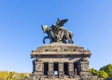 Monument to Kaiser Wilhelm I Emperor William on Deutsches Ecke. German Corner in Koblenz, Germany Stock Photo