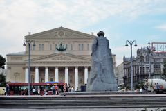 Monument to Karl Marx in Moscow city center. Blue sky with clouds background. Royalty Free Stock Images