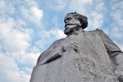 Monument to Karl Marx in Moscow city center. Blue sky with clouds background. Stock Image