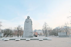 Monument to Karl Marx in Moscow city center in winter. Royalty Free Stock Photos