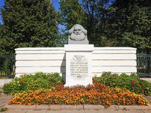 Monument to Karl Marx in Tver on Sovetskaya street near the city Park. The monument was opened in 1919 Royalty Free Stock Images