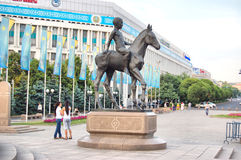 The Monument to a Kazakh boy at the Republic square  of Almaty. The Monument to a Kazakh boy at the Republic square and the centre of Almaty Stock Image