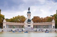 Monument to King Alfonso XII. Buen Retiro Park, Madrid, Spain. MADRID, SPAIN - SEPTEMBER 26, 2014: The Monument to King Alfonso XII is located in Buen Retiro Stock Images