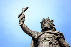 King Don Pelayo monument in Gijon Spain. Monument to king Don Pelayo in Gijon, Asturias, Spain. Bronze statue of warrior king holding cross after the battle royalty free stock images