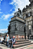 Monument to King Friedrich August in Dresden in the first sunny day, Germany Royalty Free Stock Image