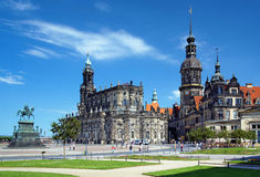 Monument to King John, Church and Dresden Castle Royalty Free Stock Image