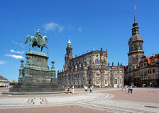 Monument to King John, Church and Dresden Castle Stock Photos