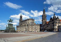 Monument to King John, Church and Dresden Castle Royalty Free Stock Photos